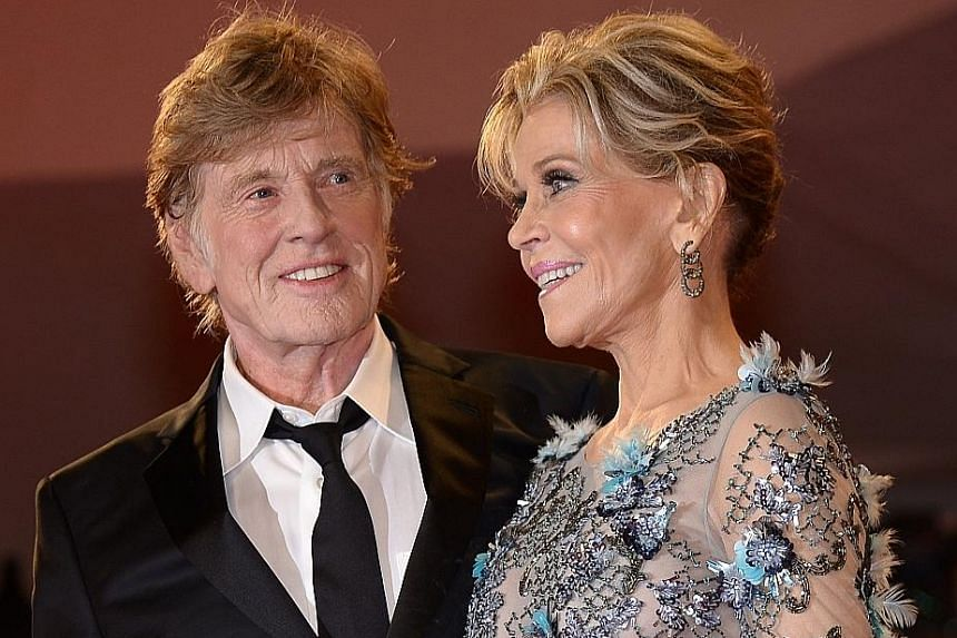 Actors Jane Fonda and Robert Redford attending the premiere of their movie, Our Souls At Night, at the 74th Venice Film Festival last Friday.