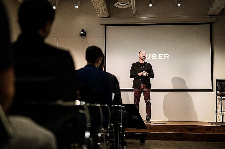 """New Uber chief executive Dara Khosrowshahi at his first company meeting as CEO, where he told employees: """"This company has to change. What got us here is not what's going to get us to the next level."""""""