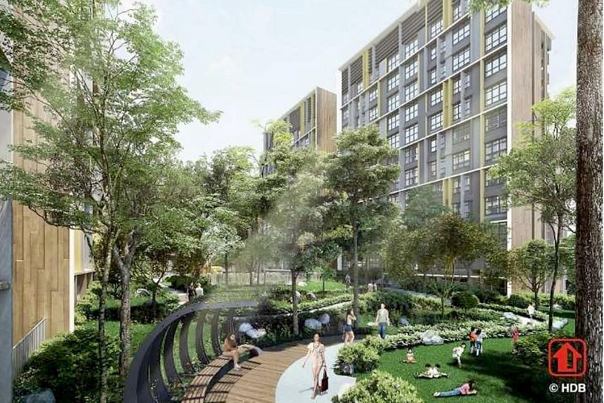 An artist's impression of Woodleigh Glen, a BTO project in Bidadari, where units will have their structural beams and columns tucked to the edges, so residents can reconfigure the internal space. Such flexi layouts were first seen in Skyville@Dawson,