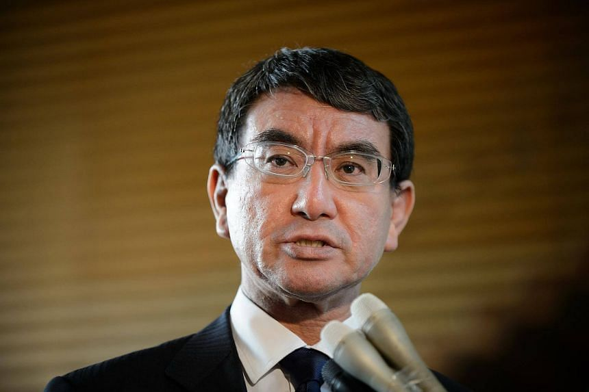 Taro Kono, Japan's foreign minister, speaks to members of the media in Tokyo on Aug 29, 2017.