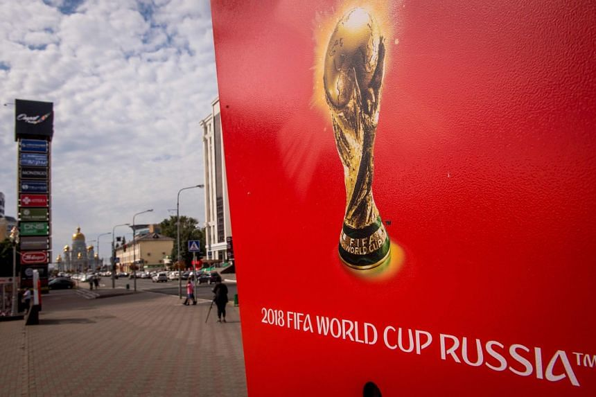 A billboard advertising the up-coming Fifa World Cup 2018 is seen in Saransk, Russia.