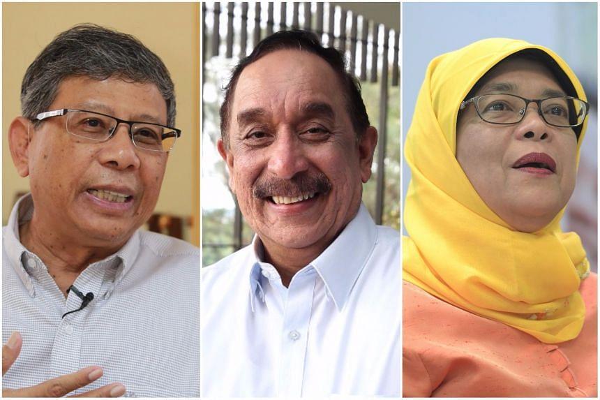 Presidential hopefuls (from left) Salleh Marican, Farid Khan and Halimah Yacob.