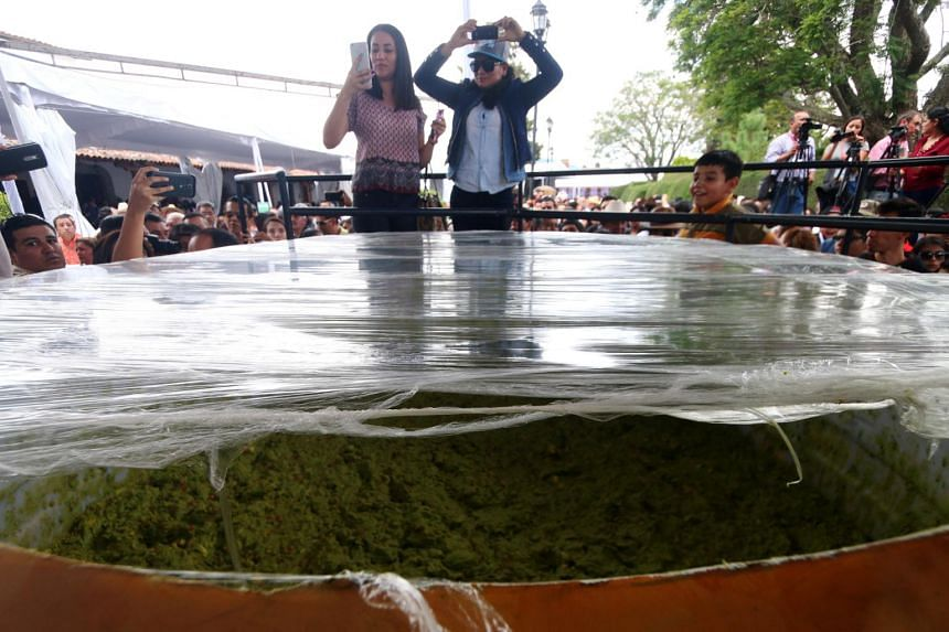Women take pictures of a massive bowl of the new Guinness World Record largest serving of guacamole, in Concepcion de Buenos Aires, on Sept 3, 2017.