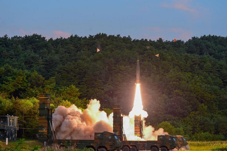 South Korean troops fire a Hyunmoo Missile into the waters of the East Sea at a military exercise in South Korea on Sept 4, 2017.