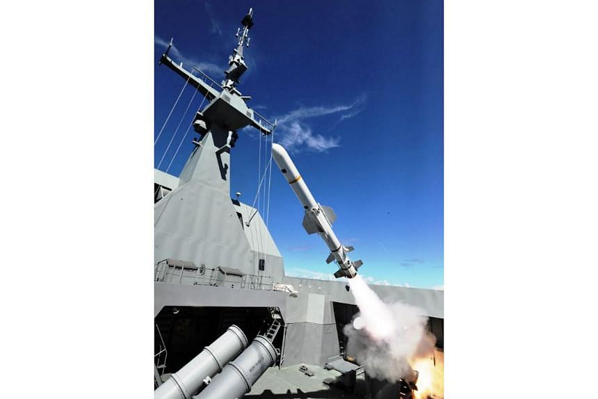 RSS Stalwart conducting unilateral firing of a Harpoon missile as part of the Designated Time-on-Target missile live-firing exercise on the sidelines of Exercise Pacific Griffin.