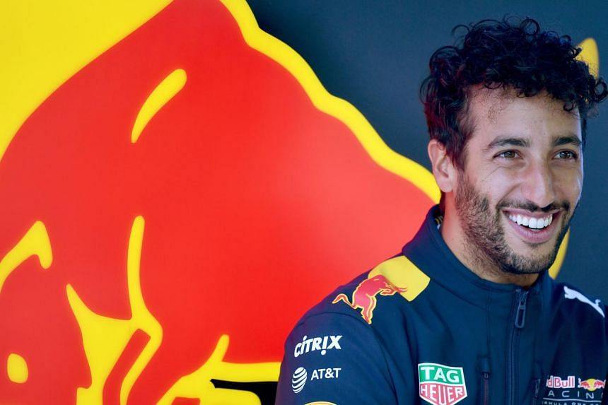 Red Bull's Australian driver Daniel Ricciardo looks on in the pits during the third practice session at the Autodromo Nazionale circuit in Monza on Sept 2, 2017.
