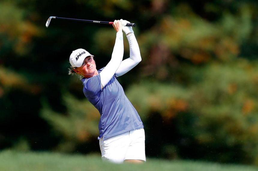Stacy Lewis hits on the 3rd hole during the final round of the LPGA Cambia Portland Classic, on Sept 3, 2017.