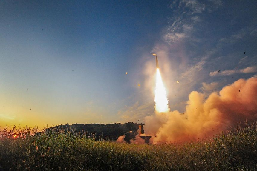 A handout photo made available by South KoreaDefense Ministry shows a Hyunmoo-2 missile being launched at an undisclosed location on the east coast of South Korea on Sept 4, 2017.
