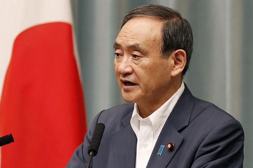 Japanese Chief Cabinet Secretary Yoshihide Suga speaks at a news conference about North Korea's missile launch in Tokyo, Japan in this photo taken by Kyodo, on Aug 29, 2017.