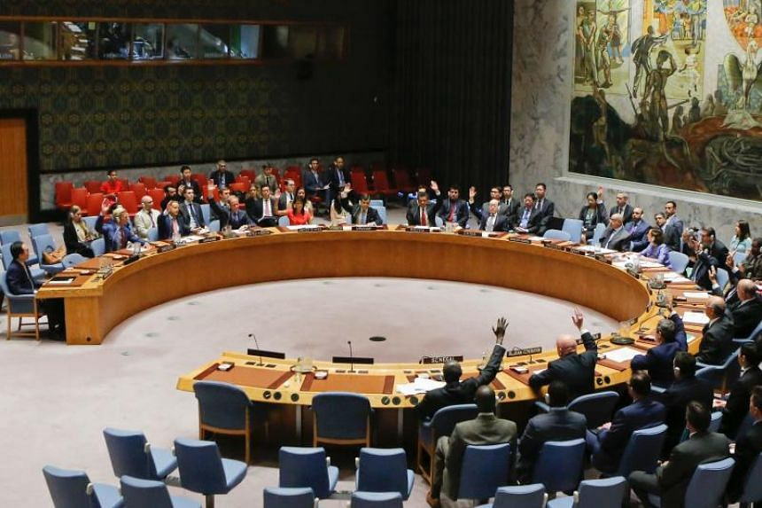 UN Security Council members vote on a US-drafted resolution toughening sanctions on North Korea on Aug 5, 2017.