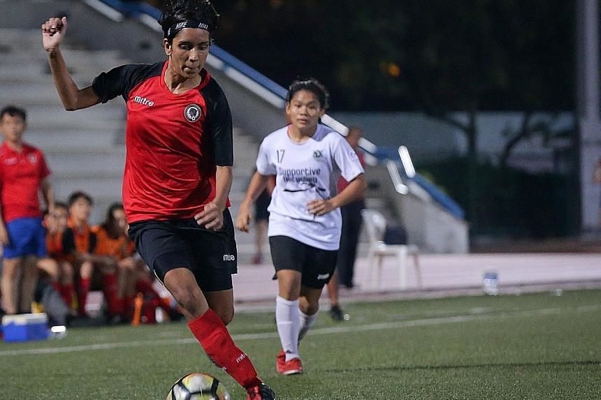 Sharda Parvin in action for Tanjong Pagar United, who are rooted to the bottom of the Women's Premier League standings. This means that the club will still be relegated to the Women's National League next season if they finish last, according to FAS'