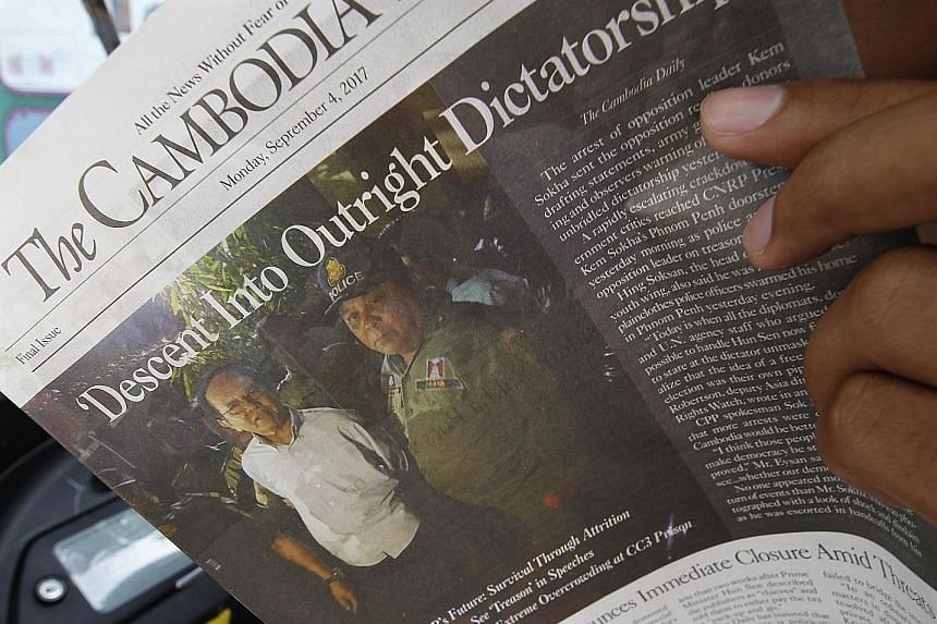 """The Cambodia Daily had been given a deadline of one month to pay $8.6 million for years of back taxes, which the publication disputed and described as """"astronomical""""."""