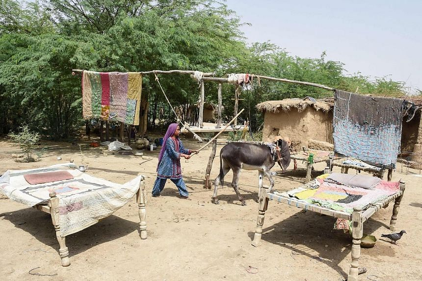A Pakistani girl in Sibi walking a donkey around a structure rigged with hanging quilts designed to work as a fan. Pakistan is among the countries most vulnerable to climate change, scientists say.