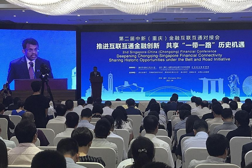 MAS managing director Ravi Menon at the opening of the Singapore-China (Chongqing) Financial Conference yesterday.