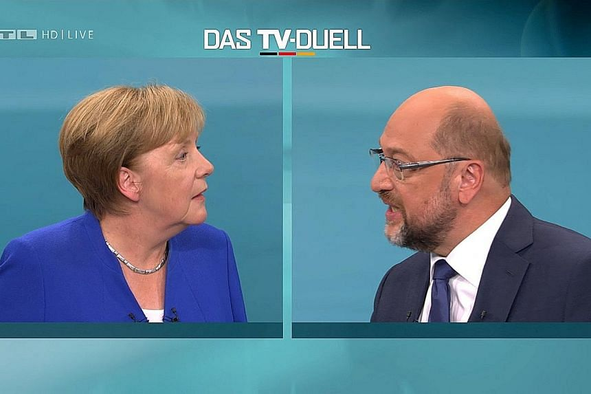 German Chancellor Angela Merkel and her challenger Martin Schulz both said they will push for an end to Turkey's negotiations to become a member of the EU in Sunday's debate.