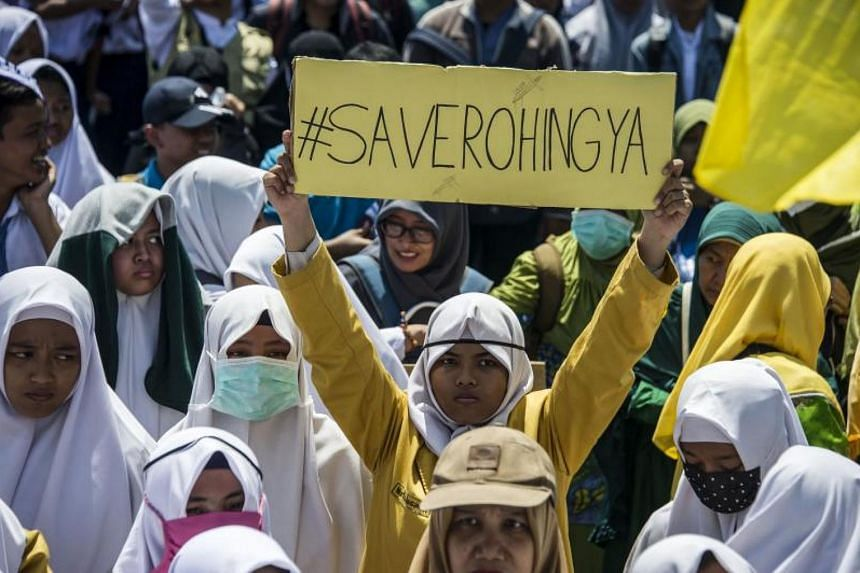Indonesian activists protest against Myanmar in Surabaya, Indonesia's second largest city on Sep 5, 2017, about the humanitarian crisis in western Myanmar's Rakhine state on the border with Bangladesh.