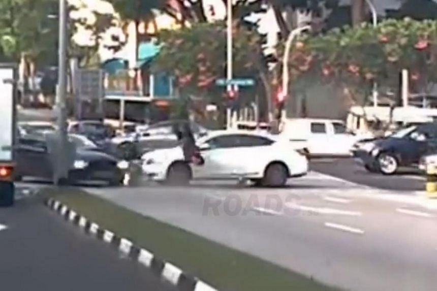 A motorcyclist was taken to hospital after getting hit by a car at the junction of Bukit Panjang Road and Bukit Panjang Ring Road on Sept 5, 2017.
