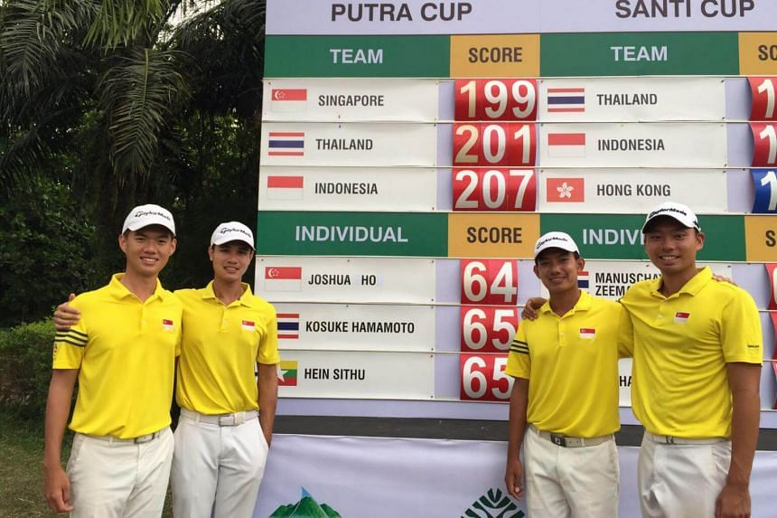 (from left) Joshua Ho, Gregory Foo, Marc Ong and Joshua Shou at the Putra Cup 2017 after round one.