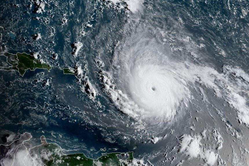This image obtained from the National Oceanic and Atmospheric Administration shows Hurricane Irma on Sept 2, 2017, at 1130 UTC.