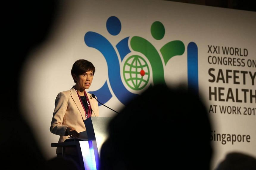 Second Minister for Manpower Josephine Teo delivers her speech before the SafeYouth@Work dialogue at the 21st World Congress on Safety and Health at Work, on Tue Sep 5, 2017, at Sands Expo and Convention Centre.