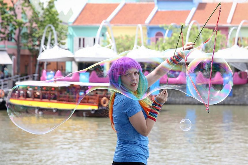 Ms Caroline Cornelius-Jones, also known as CJ the Bubble Girl, was in Singapore to perform as part of the Singapore River Festival 2016.