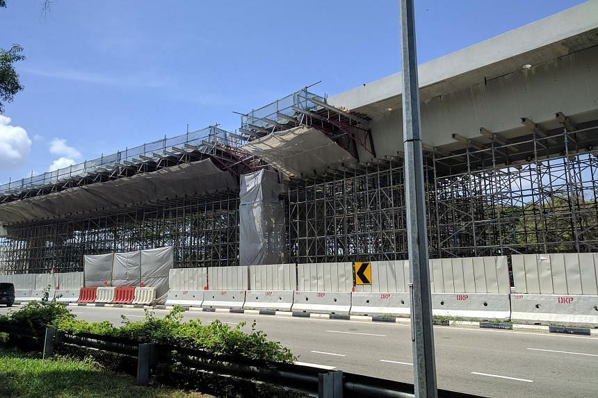 Scaffolding put up as additional support could be seen near the site of a collapsed viaduct, on July 21, 2017. The incident emphasised that beyond practising worksite safety, it is imperative that safety is foremost in the minds of all involved, said
