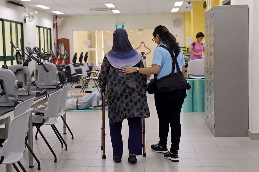 An elderly woman undergoing a physical therapy programme offered at St Luke's Eldercare Centre. Senior Minister of State for Health Amy Khor said the Ministry of Health will be investing close to $12 million over the next four years to develop the co