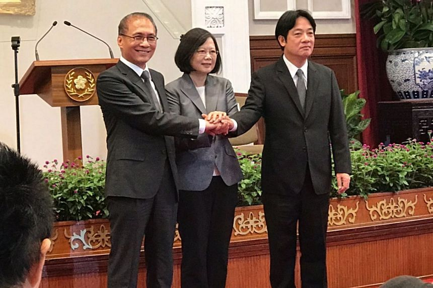 Taiwan President Tsai Ing-wen (centre) poses on Tuesday, Sept 5, at a press conference at the Presidential Office with incoming Premier Lai Ching-te (right) and incumbent Lin Chuan, who will formally step down on Thursday, Sept 7.