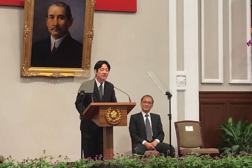 Incoming Taiwan Premier Lai Ching-te speaking at a press conference at the Presidential Office in Taipei on Tuesday, Sept 5.