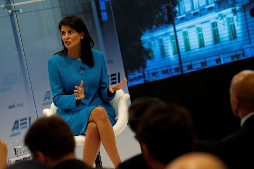 Haley speaks about the Iran nuclear deal in Washington, Sept 5, 2017.