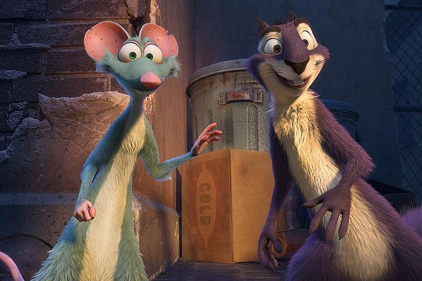 Buddy (far left, voiced by Tom Kenny) and Surly (voiced by Will Arnett) in The Nut Job 2: Nutty By Nature.