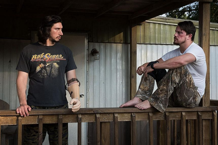 Adam Driver (above left, with Channing Tatum) plays a military veteran in Logan Lucky, while Daniel Craig stars as a slightly crazed criminal.