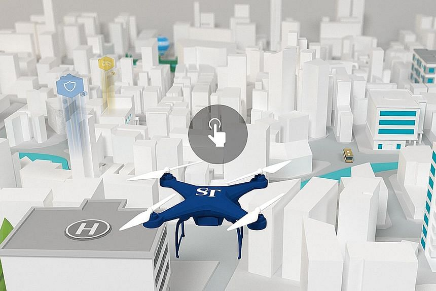 ST's newly launched Smart Nation microsite, which explains Singapore's digitisation push across six sectors, includes a game where users can operate a drone hovering over an imagined virtual Singapore.