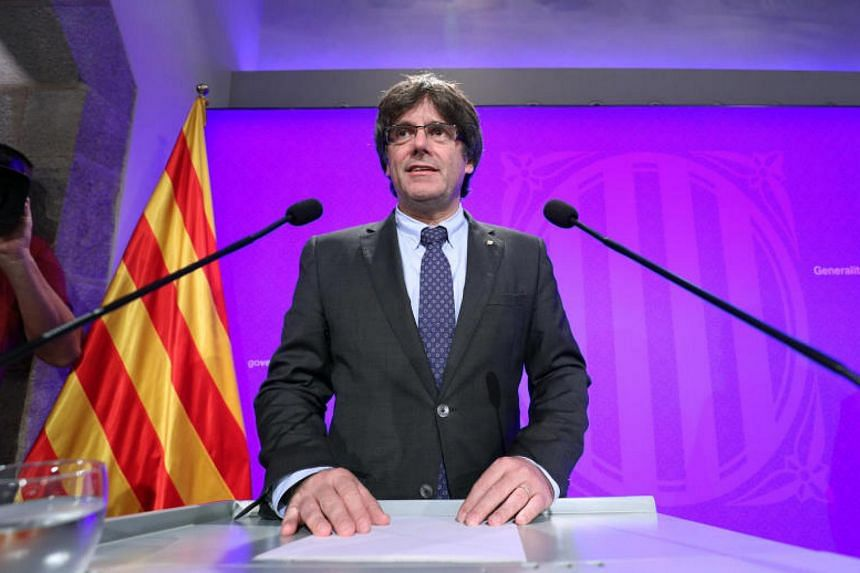 Catalan regional President Carles Puigdemont attends a news conference at Palau de la Generalitat in Barcelona, Spain on Sep 5, 2017.
