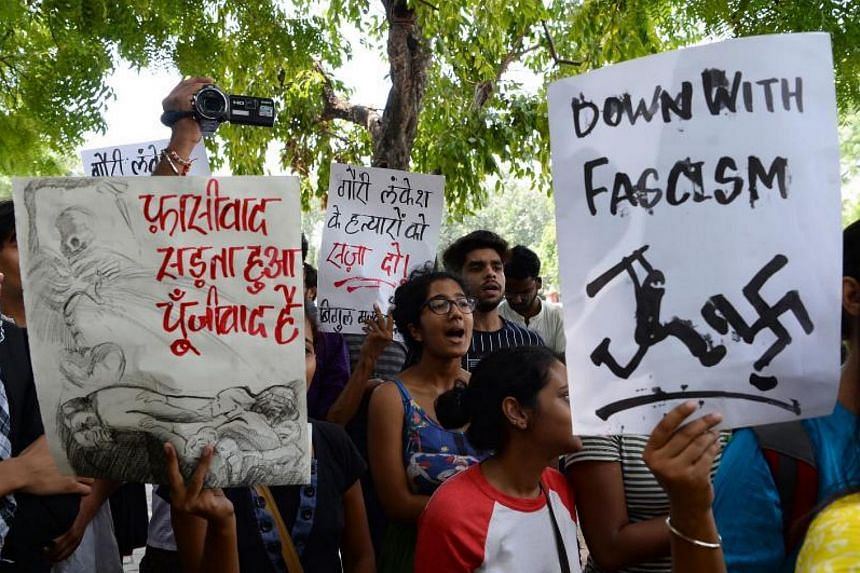 Activists take part in a protest rally against the killing of Indian journalist Gauri Lankesh in New Delhi on Sep 6, 2017.