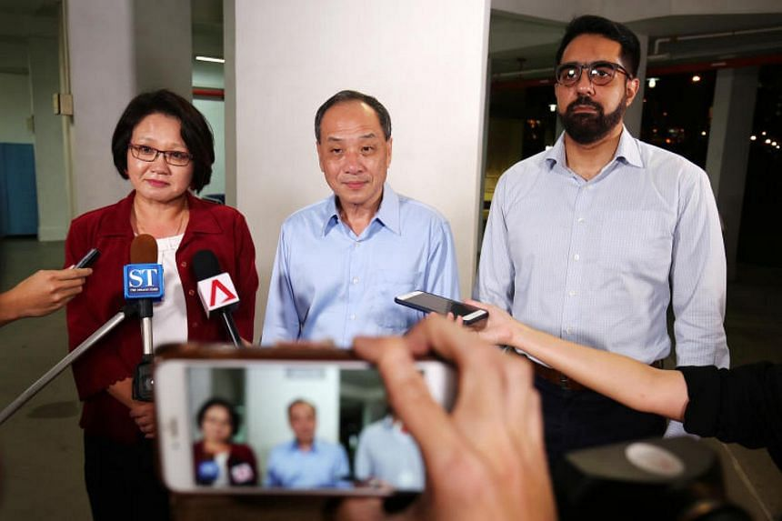 In a statement on Wednesday (Sept 6), the SDP said it objected to the claim made by WP chief Low Thia Khiang (centre), which was submitted as an annex to his defence in a lawsuit brought by the Aljunied-Hougang Town Council.