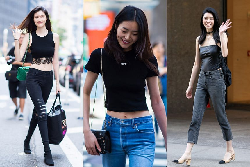 (From left to right) Models including He Sui, Liu Wen and Xi Mengyao going to fittings for the 2017 Victoria's Secret Fashion Show in Midtown on August 26, 2017, in New York City.