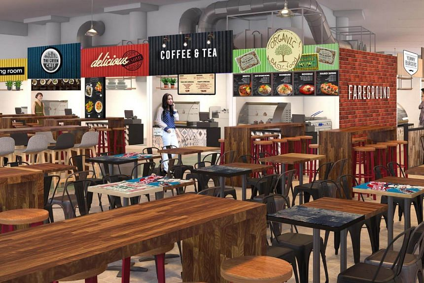 Artist impressions of the second floor of the Pasir Ris Central Hawker Centre, which will have traditional hawker food on the ground floor and hipster cafe food on the second floor to appeal to new-generation hawkers and the younger crowd.