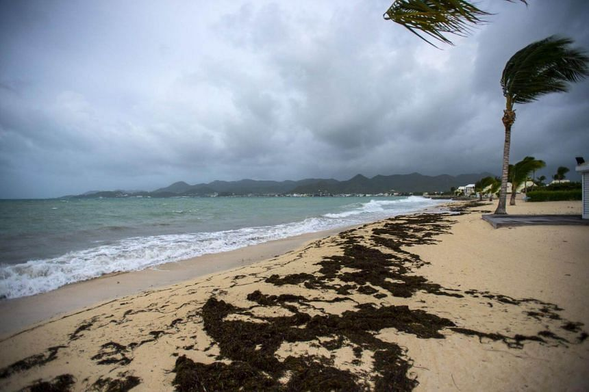 A view of the Baie Nettle beach in Marigot, with the wind blowing ahead of the arrival of Hurricane Irma.