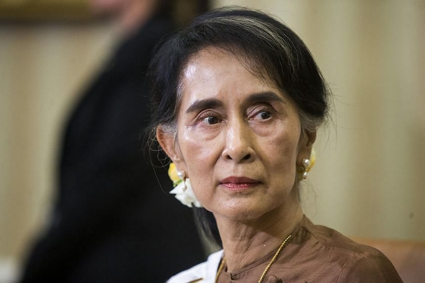 "Myanmar's Aung San Suu Kyi blamed ""terrorists"" for ""a huge iceberg of misinformation"" on the violence in Rakhine state."