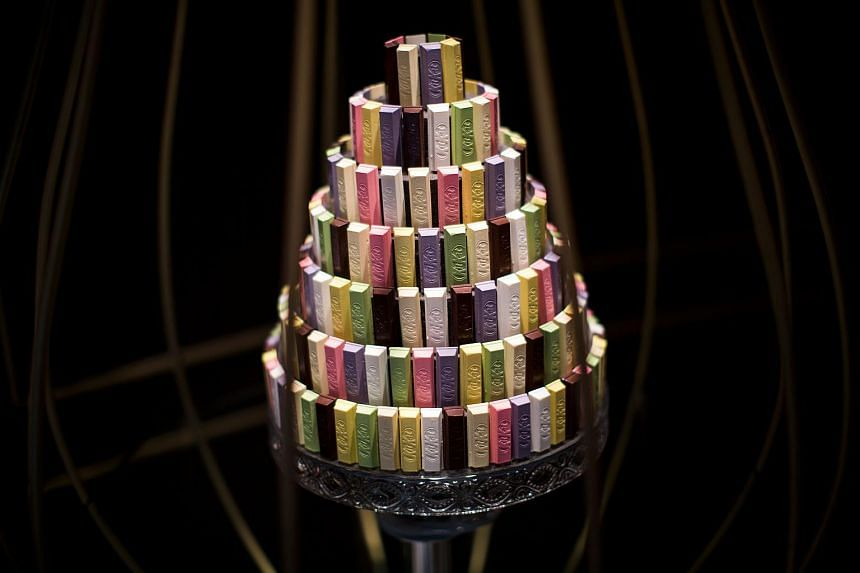 """A decoration with different KitKat flavours is displayed at a KitKat """"Chocolatory"""" boutique shop in Tokyo, on Aug 29, 2017."""