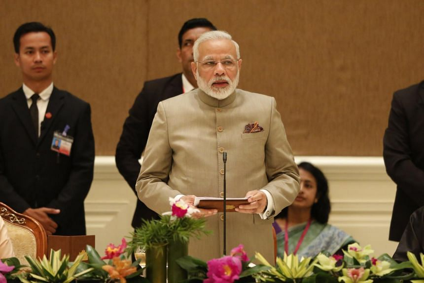 Indian Prime Minister Narendra Modi at a dinner at the presidential house in Naypyitaw, Myanmar, on Sept 5, 2017.