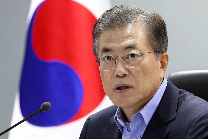 South Korean President Moon Jae In speaks during an emergency National Security Council meeting at the presidential Blue House in Seoul, on Sept 3, 2017.