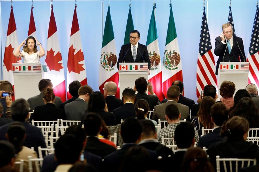 (From left) Canadian Foreign Minister Chrystia Freeland, Mexico's Economy Minister Ildefonso Guajardo and US Trade Representative Robert Lighthizer at the second round of Nafta talks in Mexico City, Mexico, on Sept 5, 2017.