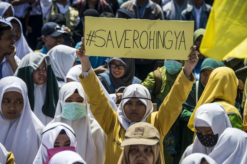 Indonesian activists protest against Myanmar in Surabaya, Indonesia's second largest city on Sept 5, 2017, about the humanitarian crisis in western Myanmar's Rakhine state on the border with Bangladesh.