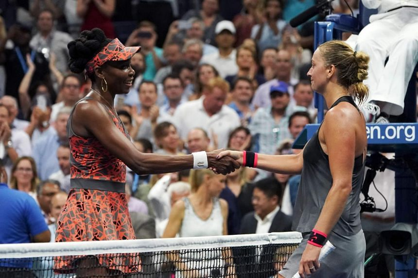 Venus Williams (left) shakes hands with Petra Kvitova after winning their 2017 US Open Women's Singles Quarterfinal match, on Sept 5, 2017.