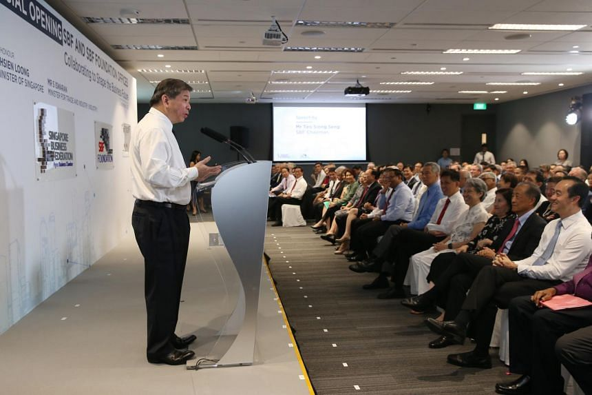 Mr Teo Siong Seng, chairman of Singapore Business Federation (SBF), delivers his speech at the official opening of SBF center and SBF Foundation offices on Sept 5, 2017.