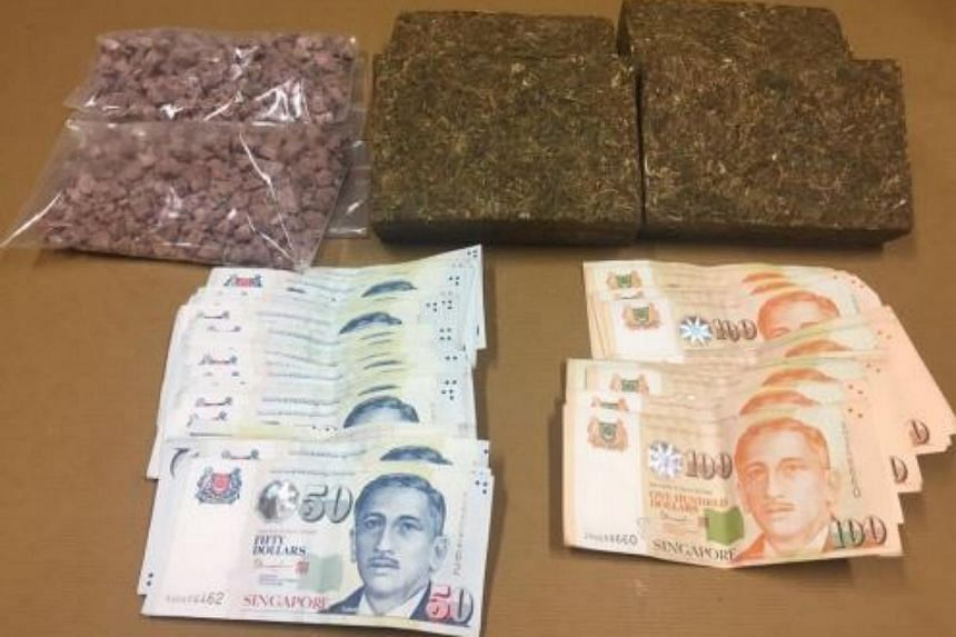 2kg of cannabis, 466g of heroin and cash amounting to over $4,000 were seized during a CNB operation on Sept 5, 2017.