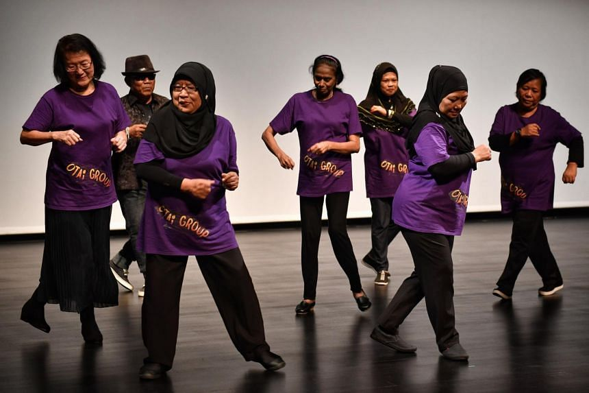 Seniors showcase a hip-hop dance performance at the Arts In Eldercare Seminar at Our Tampines Hub on Sept 6, 2017.