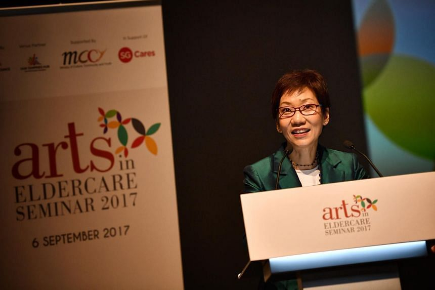 Ms Grace Fu, Minister for Culture, Community and Youth, sharing the results of the Arts for Ageing Well Study at the Arts In Eldercare Seminar on Sept 6, 2017.
